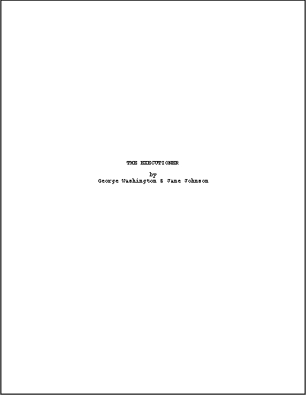 scriptfaze how to format a title page