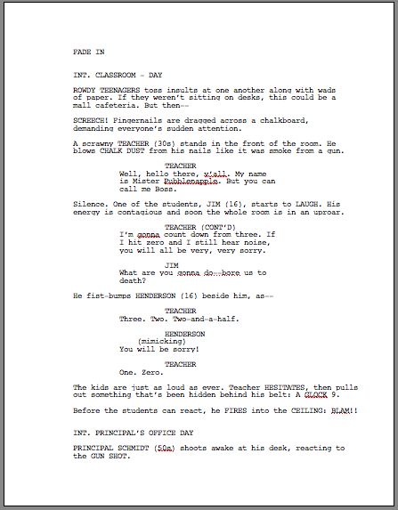 Scriptfaze how to format a screenplay page one example pronofoot35fo Gallery